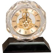 CRY053  Clear Crystal Clock on Black Base