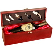 WBX11  Rosewood Finish Single Wine Box with Tools & Red Lining