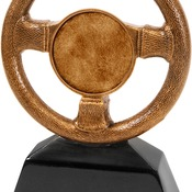 "CRS106  7"" Antique Gold Steering Wheel Award"
