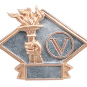 "DPS75  6"" X 4-1/2"" Diamond Plate Resin Small Victory Trophy"