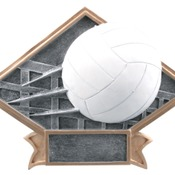 "DPS26  6"" X 4-1/2"" Diamond Plate Resin Large Volleyball Trophy"